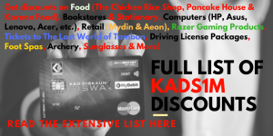 Full List of Specific KADS1M Discounts