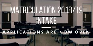 Applications For Matriculation 2018/19 Is Now Open